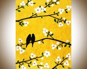 """Gold and white art Birds on tree branch wall art wall decor cabvas art Heavy Texture Palette Knife Painting """"Cherry Blossom"""" by qiqigallery"""