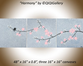"48"" pink silver black set of 3 wall art canvas original Acrylic BIRDS painting impasto palette knife gift for her ""Harmony"" by QIQIGALLERY"