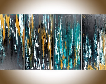 Abstract painting Turquoise blue black white gold wall art Original artwork acrylic painting Impasto large canvas art  by QiQiGallery
