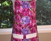 womens aprons - apron - full aprons - watercolor tulips