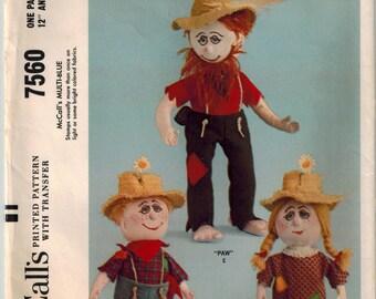 "Vintage 60s Hillbilly Family Sewing Pattern 12""  17"" Rag Dolls Clothing Beverly Hillbillies Toy Craft Pattern Stuffed Dolls McCalls 7560"