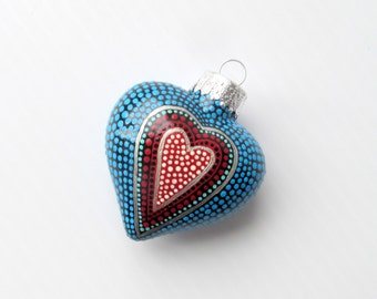 Hand Painted Heart Ornament Hollow glass heart ornament Dot painting