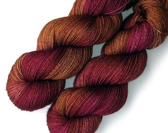 Merino Yak Silk Yarn Handdyed - Copper Plum, 400 yards
