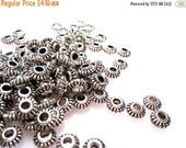 50% Off 25 pcs of Antique Silver Rope Edged 3x6mm Rondelle Spacer beads with an approx. 2.5mm hole MB1001 A16