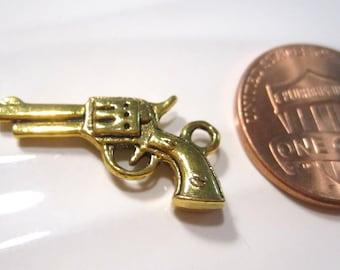 12 pcs Pistol Charms, Antique Gold Plated, 6 Shooter, Pop Guns 10x21mm C1080 H16