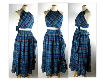 Vintage 70s Plaid Scarf Top and Ruffled Wrap Skirt by J. Tiktiner