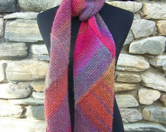 Handknit Statement Scarf Triangle Patterned Wool Blend in Bright Jewel Tones