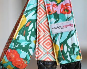Minty Meadow Blooms - Reversible Camera Strap