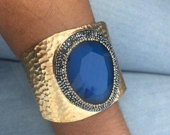 Royal Blue Quartz Cuff Bracelt, Gold Plated Gemstone Cuff