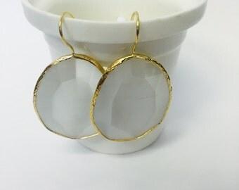 Pearl White Dangle Earrings Gemstone Gold Plated Drop Earrings