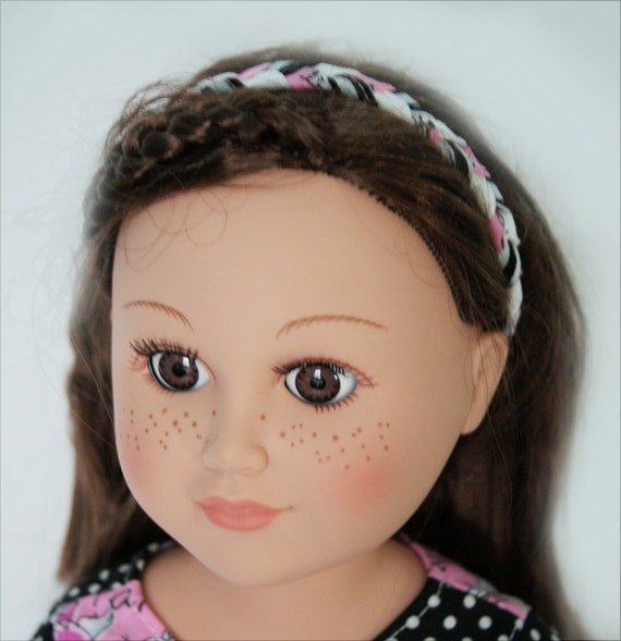 Braided Headband - Black, Pink and White - for American Girl and 18-inch Dolls