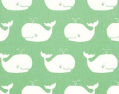 Whale Tales Canal Twill Light Green  Fabric by the Yard Nautical Canal Twill Whales Home Decor Upholstery Premier Prints - 1 yard or more