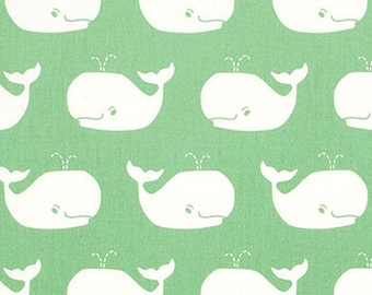 Whale Tales Canal Twill Light Green Teal Fabric by the Yard Nautical Canal Twill Whales Home Decor Upholstery Premier Prints 1 yard or more