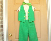 St Patricks Day Leprachaun, Mardi Gras green pants and vest with bow tie Childrens size 4
