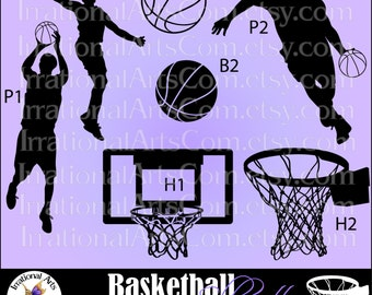 Basketball Silhouettes 7 Vector Vinyl Ready EPS & PNG clip art graphics players hoop basketballs Small Commercial License {Instant Download}