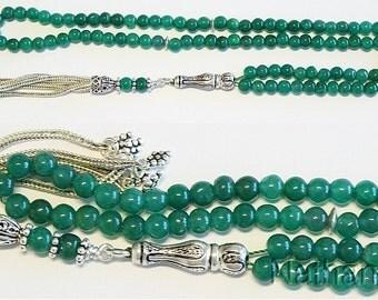 Islamic Prayer Beads Tesbih Gebetskette Genuine Emerald  and Sterling -99 Beads
