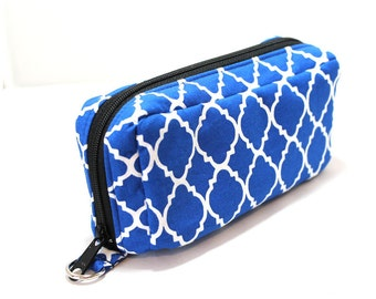Essential Oil Case Holds 10 Bottles Essential Oil Bag Bright Blue and White Lattice