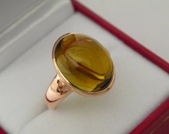 AAAA Golden Drown Olive green Tourmaline Flawless 16x12mm 11.61 Carats in 14K Rose gold ring.  0711
