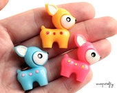 3pc, 6pc cute baby deer cabs / pink, yellow, blue / kawaii mini doe cabochons / deco decoden kandi supplies / flat back cabs /