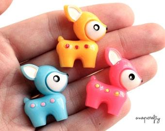 3pc, 6pc cute baby deer cabs / pink, yellow, blue / kawaii mini doe cabochons / deco decoden kandi supplies / flat back cabs /