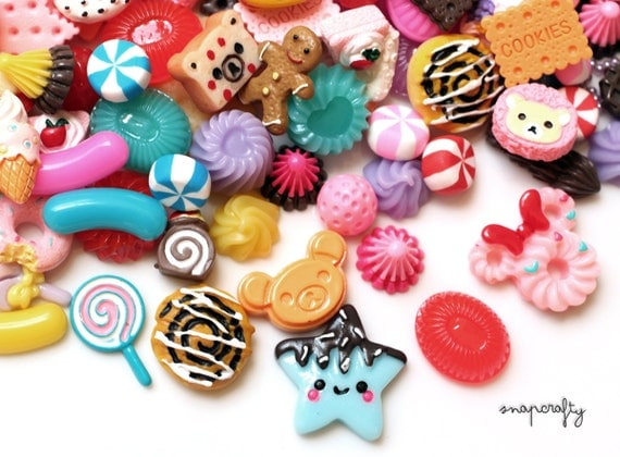 25pc decoden sweets mix / cute kawaii cabochons flatback resin cab embellishments/ diy cell phone deco jewelry / candy faux food miniature