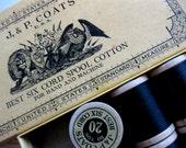 Vintage Box of J & P Coats Best Six Cord Spool Cotton, 12 Wooden Spools
