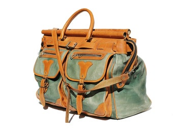 Vintage Green and Brown Leather Travel Bag / Large Leather Bag