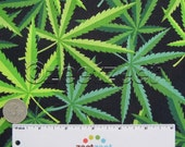 HERB Black Green Leaf Marijuana Pot Weed Cannibis 420 Alexander Henry 100% Cotton Quilt Fabric by the Yard, Half Yard, or Fat Quarter Fq