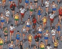 MARATHON RUNNERS Grey Running Cotton Quilt Fabric by the Yard, Half Yard, or Fat Quarter Fq Run Championship Compete Boston New York Elite