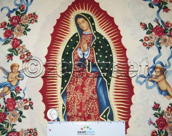 VIRGIN OF GUADALUPE Natural by Alexander Henry Gold Metallic Mary with Winged Baby Angels Ribbon Flowers Cotton Quilt Fabric - by the Yard