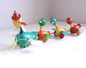Vintage Fisher Price mama duck and babies pull toy wooden