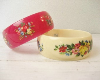 Pair of Vintage Acrylic Bangle Bracelets with Floral Design