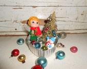 Vintage Inspired Christmas Diorama in Jello Tin, Vintage Christmas Boy