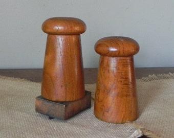 Mid century modern mushroom salt and pepper shakers 1970s teak