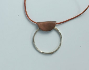 Oxidized Copper and Hammered Silver Mixed Metal Geometric Pendant on Leather Cord