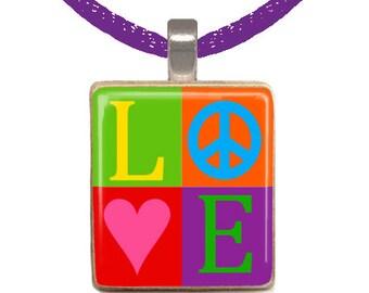 Scrabble Pendant, Scrabble Necklace, Peace Sign Necklace, Love Necklace, Colorful Necklace, Tween Necklace, Rainbow (LOVE AND PEACE)