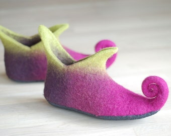 Fairy shoes felted home slippers in pink,  Custom colors HANDMADE TO ORDER