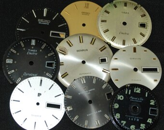 Vintage Antique Watch Dials Steampunk  Faces Parts Altered Art Industrial O 19