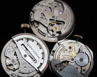 Vintage Antique Round Watch Movements Steampunk Altered Art Assemblage TM 68