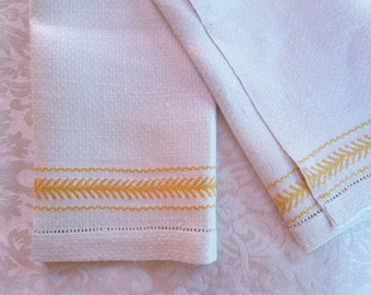 Vintage Bath Towel Yellow Hand Woven Stripes Antique Kitchen Linens Bathroom Decor