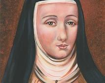Saint Teresa Margaret of the Sacred Heart, Carmelite Nun, 11x 14 Acrylic Painting on Canvas, OOAK Original painting, Catholic Art,