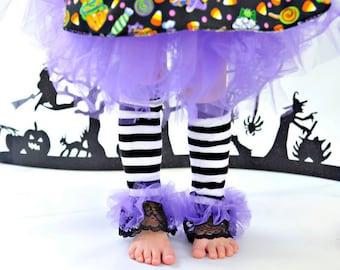 Black & White Striped lace ruffle tutu leg warmers, Tutu Leggings, Perfect for your Birthday party, photo prop, costume