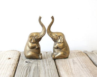 Solid Brass Elephant Bookends