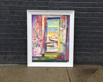 Sea View Window Large Impressionist Still Life Original Painting
