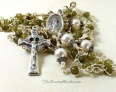 St Brigid Rosary Beads Irish Celtic Green Labradorite White Swarovski Pearls St Patrick Wire Wrapped Unbreakable