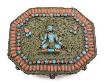 Tibetan Box - Coral and Turquoise Glass, Filigree, Goddess