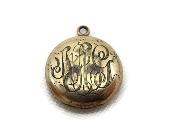 Antique Etched Locket - Edwardian Monogram Locket