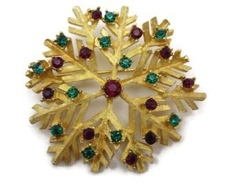 Rhinestone Snowflake Brooch - Dodds, Red Green Gold Tone Costume Jewelry