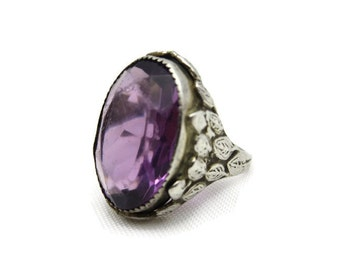 Art Nouveau Ring - Sterling Silver and Amethyst Glass, Estate Jewelry