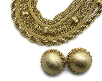 Statement Necklace and Earrings Set - Multi Strand, 1970s, Costume Jewelry, Multi Chain, Gold Tone, Statement Jewelry